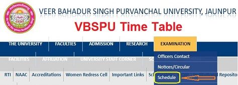 VBSPU Time Table 2022