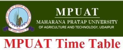 Maharana Pratap University of Agriculture & Technology Time Table