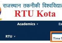 RTU B.Tech Time Table