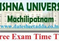 Krishna University Degree Time Table