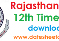 Rajasthan Board 12th Exam Time Table 2022