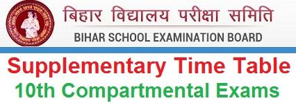 Bihar Board 10th Supplementary Time Table 2021
