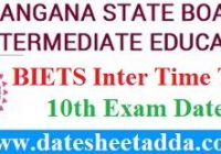BIE TS Intermediate Time Table 2020