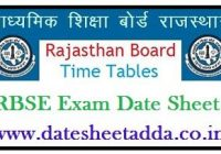RBSE 5th Time Table 2022