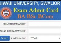 Jiwaji University Admit Card 2020