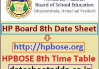 HPBOSE 8th Exam Time Table 2022