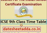 ICSE 9th Exam Time Table 2022