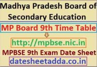 MPBSE 9th Class Time Table 2022