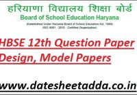 HBSE 12th Question Paper Design 2022