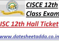 ISC 12th 1st Semester Hall Ticket 2021-22